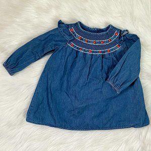 Baby Gap Blue Chambray Smocked Dress Sz 12/18M